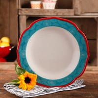 "The Pioneer Woman Happiness 10.5"" Red Rim Decorated Scallop Shape Dinner Plates, Set of 4 - Walmart.com"