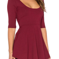 Wine Red Half Sleeve Asymmetric Flounce Hem Blouse