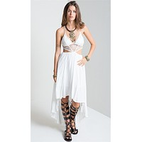 Sexy Lace Halter Boho Maxi Dress