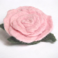 Little Pink rose - Felted flower brooch. Ready to ship. Gifts Under 15