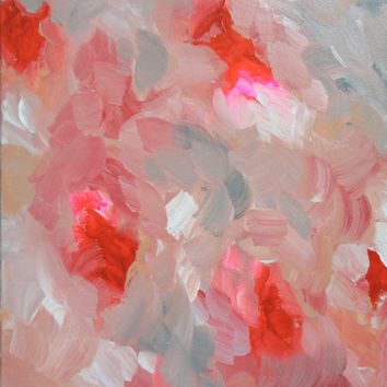 Original Acrylic Abstract Painting 11x14 Red Pink Flowers Floral Painting Stretched Canvas