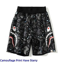 Bape Fashion Camouflage Print Double Shark head Shorts