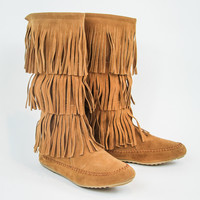 Fringe Boots in Tan