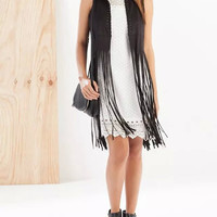 Solid Faux Suede Leather Sleeveless Tassel Long Vest Coat