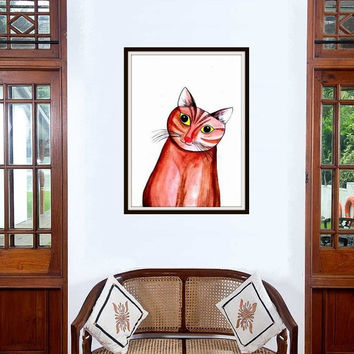 Brown kitty cat watercolor painting wall art print poster decor nursery domestic animal pet illustration colorful abstract portrait inspire