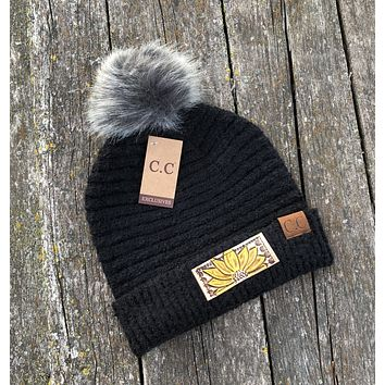 Black Beanie Hat with Pom Sunflower Tooled Leather Patch Hat