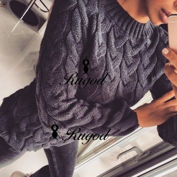 Women's One Size Long Sleeve Loose Cable Knit Sweater Pullover