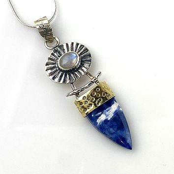 Sodalite & Moonstone Sterling Silver Two Tone Pendant