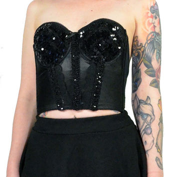 vintage 80s black sequin bustier glam gothic vamp strapless crop top corset lingerie small