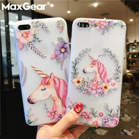 MaxGear Unicorn Flower Paint Case For iPhone 7 Plus Clear Phone Cases Soft TPU Back Cover For iPhone X 8 7 6 6s Plus 5 5s SE