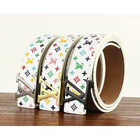 Inseva Louis Vuitton LV Fashion New Letter Buckle Multicolor Monogram Leather Women Men Belt