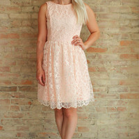 Beauford Fit and Flare Dress - peach