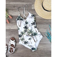 Tropical One Piece Open Back Swimsuit
