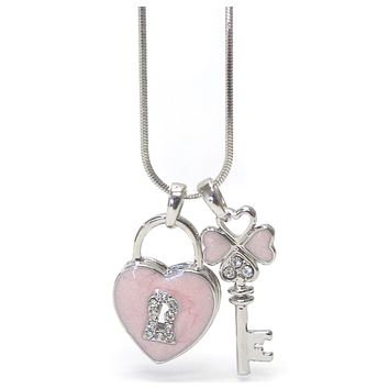 Stunning Crystal Accent Pink Heart and Key Whitegold Necklace