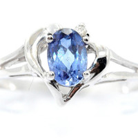 0.50 Carat Tanzanite Oval Heart Diamond Ring .925 Sterling Silver Rhodium Finish White Gold Quality