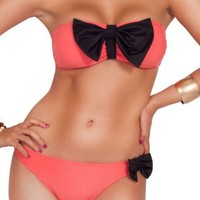 Coral & Black Bow Bikini Set from Milly Kate