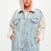 Missguided - Blue Oversized Borg Sleeve Denim Jacket