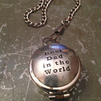 Working Compass Best Dad in the World Compass on Pocket Watch Chain Silver Compass Best Dad Gift Father's Day Gift Father's Day Gift for Her