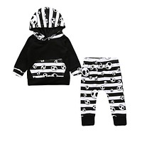 Pudcoco 2017 Halloween Toddler Baby Boys Tops Hoodie Skull Striped Pants Outfits 2Pcs Set Autumn Clothes 0-24M