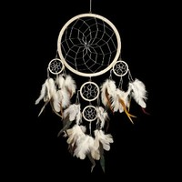 """Dream Catcher ~ Traditional Cream & Silver with Black & White feathers 8.5"""" Diameter & 20"""" Long!"""