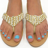 SZ 5.5 King's Crest Pearl Strappy Sandals