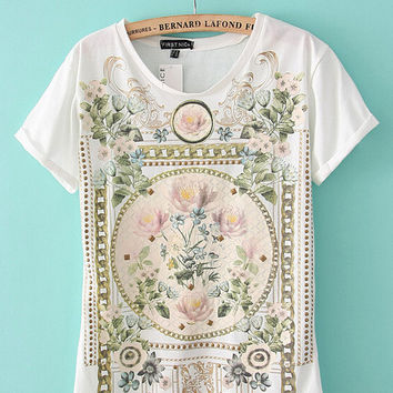 Flower Print Short Sleeve Graphic T-shirt with Rivets