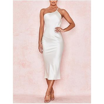 fhotwinter19 Women's new satin straps one-shoulder sexy sling halter mid-length dress