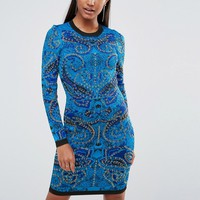WOW Couture Knitted Bandage Dress in Jacquard
