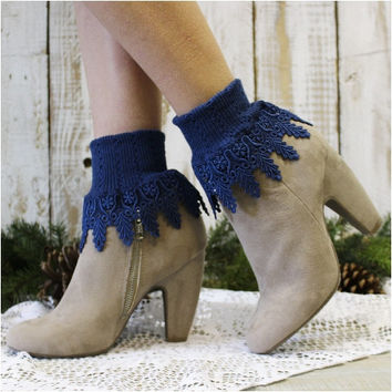 SIGNATURE lace socks -  navy blue