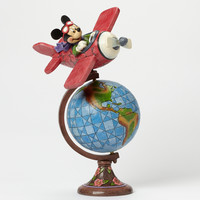 disney traditions aviator mickey with globe jim shore figure new with box