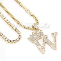 Crown W Initial Pendant Necklace Set