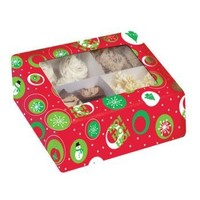 Creative Converting 84802 Christmas Cupcake Box with See-Though Window