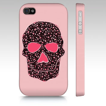 Doodle Skull iPhone 4s case, iPhone 4 case, pink sugar skull iPhone 5 case, iphone 5s, iphone 5c, floral skull iphone case, cute skull art