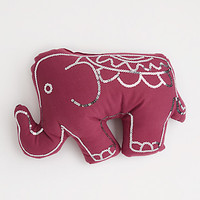 Burgundy Sequined Elephant Pillow