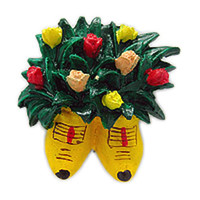 Kitchen Magnet Wooden Shoes with Flowers