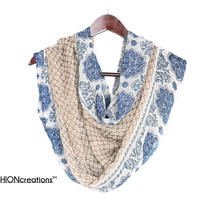 Paisley Blue Bohemian scarf floral medallion Paisley scarf Women's Scarf Paisley Boho scarf Loop Scarf Indio Infinity Scarf