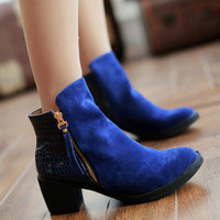Zipper Ankle Boots Chunky Heels Women Shoes 4597