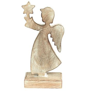 Wooden Angel Holding Star Christmas Ornament, White/Natural, 9-Inch