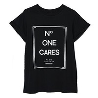 Aurora Women's Tops Cute Letters Print Tshirt Basic O neck Shirts Casual Tee Black Size S DT17