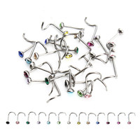Fashion 20pcs/lot Stainless Steel Crystal Rhinestone Nose Studs Hooks Bar Pin Nose Rings Body Piercing Jewelry For Women F3710