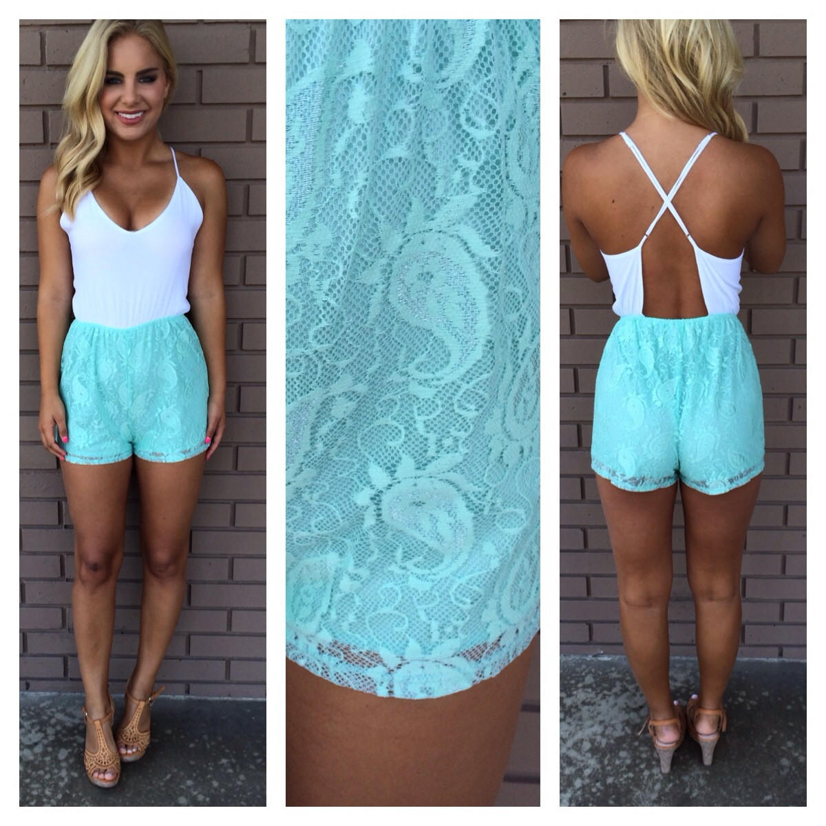 Image of Mint & Ivory Paisley Lace Romper