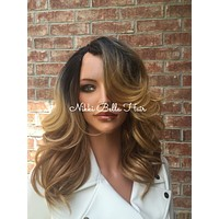Curry Upart Human Hair Blend Multi Parting Wig