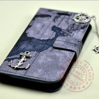 Vintage style world Map Samsung Galaxy S3 Case ,Leather Galaxy case with Silver compass,rudder ,anchor