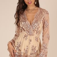 On Call playsuit in rose gold sequin Produced By SHOWPO