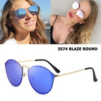 JackJad Fashion Trend 3574 BLAZE ROUND Style Sunglasses Vintage Retro Brand Design Color Mirror Sun Glasses Women Oculos De Sol