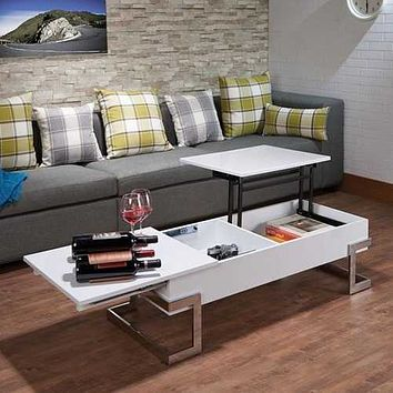 """47"""" X 20"""" X 14"""" White And Chrome Particle Board Coffee Table"""