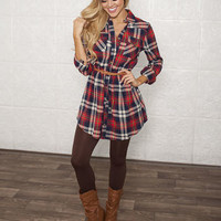 Plaid Button Up Belted Tunic Dress Red CLEARANCE