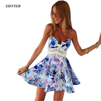 New Fashion Summer Women Hollow Out Lace Floral Printed Dress Sleeveless Spaghetti Strap V-neck Mini Sexy Party Dresses