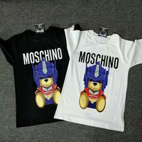Moschino The transformers Small bear short sleeves T-shirt Robot bear printing H-spring-CLFSGCJDZ