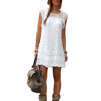 White Crochet Lace Fringed Mini Dress